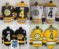 cru authentique achat en gros de-Vente en gros Boston Bruins Hockey sur glace # 4 Bobby Orr Jersey Noir Blanc CCM Retour Vintage Authentique 2016 Winter Classic Jerseys