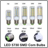 Wholesale Ultra Bright SMD5730 E27 E14 G9 LED lamp W W W W W V V angle SMD LED Bulb Led Corn light LED LED LED LED LED