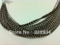 Wholesale Hot sale quot Natural Color Real Grizzly Thin Rooster Feather hair extensions