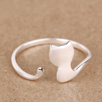 Wholesale 100 Sterling Silver Classic Opening Cat Rings Women New Fashion Jewelry Lovely Adjustable Ring Female High Quality
