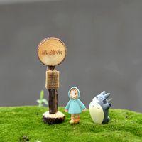anime guide - 4pcs Totoro Anime Signpost Guide bonsai Fairy home garden ornament decoration Terrarium Resin Crafts Miniatures Jardin Home Pot