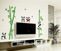 bamboo bathroom design - Fashion Designed Home Decor Cute Bamboo Panda Wall Sticker Sofa Backdrop TV Backround Mural Decals Vinyl Sticker New