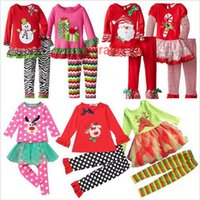 Wholesale 20 BBA4840 Samgami Baby Kids Christmas Set Clothes Striped Outfits girls christmas deer snowman santa claus pajamas Tops Ruffle Pants dress