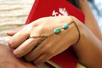 Mode Indian Bijoux Slave Tassel Chaîne Harnais de la main en laiton anti avec anneau attaché pour les femmes Turquoise Bijoux chaîne Body HC100032