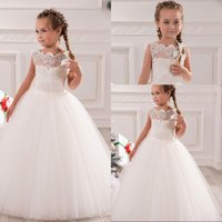 Wholesale Lace Rhinestone Tutu Ivory Lovely Baby Girl Birthday Party Christmas Princess Dresses Children Girl Party Dresses Flower Girl Dresses