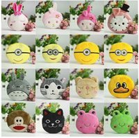 Wholesale 50pcs LJJC2044 New products baby Bags cute Totoro Minions cartoon modelling children creative animal coin bag plush kids coin purse