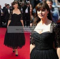 balck tea - Gothic Vintage Lace Balck Celebrity Evening Dresses with Jacket Plus Size Tea Length Arabic Red Carpet Formal Dresses Evening Wear Gown