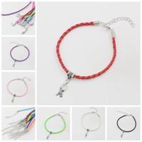 Cheap Wholesale-100pcs Hope Breast Cancer Awareness Ribbon Charm Pendant Leather Rope Cham Bracelet Fit for European Bracelet Handmade Craft DIY