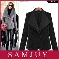 tweed jacket - Freeshipping women Casual Tweed short Autumn Winter Europe America Slim long sleeve Large lapel Women s Woolen jacket Coat