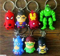 Wholesale Children New Superman Batman Spider Man Iron Man Avengers Superhero Captain America cartoon anime boy Keychain sided soft toys for kids