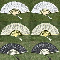 Wholesale Chinese Silk Bamboo Hand Lace Wedding Accessories White Black Bridal fans In Stock VT