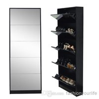 shoe cabinet - USA Wooden Rotating Doors Shoe Cabinet Closet Rack with Mirror