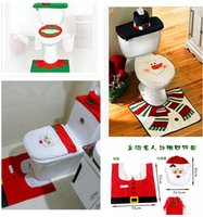 christmas elf - 3PCS Fancy Santa Toilet Seat Cover and Rug Bathroom Set Christmas Decoration Hot Happy Santa Snowman Elf Christmas Toilet Seat Cover m0594