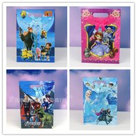 bamboo paper pulp - 2015 Christmas D cartoon loot bags minions Frozen Elsa Anna pig paper gifts bag Sofia snow white princess The Avengers gifts boxes package