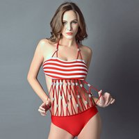 red and white rope - 2015 new bra red and white striped multi rope Beaded sexy Bikini one piece swimsuits conjoined hot spring bathing suit