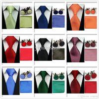 Naranja Rojo noche al por mayor-Hombres Accesorios UN5 clásico liso partido formal corbata Conjunto verde rosado corbata Partido Gemelos Pañuelo Conjunto
