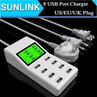 Cheap Universal 8 USB Port Display Screen US EU UK Plug Travel AC Power Adapter Socket Desktop Smart Wall Charger For Cell Phone Tablet Camera