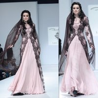 pink and black prom dresses - Pakistani Dresses Black Lace And Light Pink Chiffon With Long Sleeves Prom Party Gowns A line Long Floor Length Girls Fashion Evening Dress