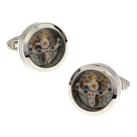 Wholesale High Quality New Classic Silver Copper Mens Wedding Cufflinks Novelty Rare Fancy Tourbillon Clean Cloth
