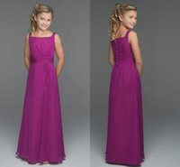Cheap 2016 Lovely Purple Chiffon Junior Bridesmaid Dresses Square Neckline Floor Length Children With Belt Skirts