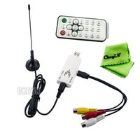 Wholesale Global Analog TV Tuner Dongle PAL NTSC SECAM Multi Language with Remote Controller and Antenna for DVD VCD DVR VCR UATS01G H24