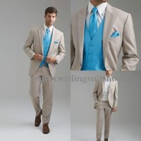 Wholesale 2015 Custom Design notched laple Groom Tuxedos Groomsmen Men Wedding Tuxedos Dinner business Suits Jacket Pants vest tie Free Shiping