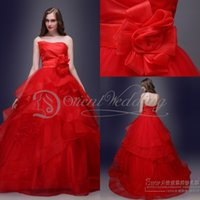 red ball gown wedding dress - Red Strapless Ball Gown Organza Wedding Dresses Tiered Ruffles Hand Made Flower Court Train Bridal Gowns Real Image