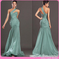 Cheap Reference Images Evening Dress Sage Green Best Trumpet/Mermaid One-Shoulder Evening Gown One Shoulder