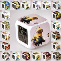 plastic table clock - Cartoon Minecraft Alarm Clock Creeper Frozen Clocks Spider man Watch With LED Digital Desk Table Clock Decoration Accept Custom made Order
