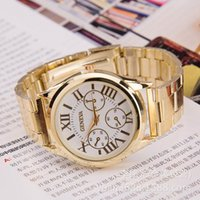 Wholesale Hot Geneva Watches Mens Business Stainless Steel Metal Belt Rome Dial Gold Watch Fashion Womens Quartz Watches