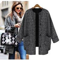 women s 16 coat with best reviews - Wholesale-2015 New Fashion Women's Winter Coat Female Wool Blends Outerwear Coat Grey Plus Size European Fashion Overcoat#16 18