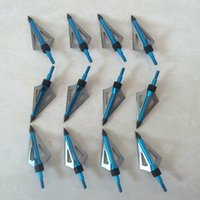 Wholesale hunting broadheads high quality grain blue color three blades archery bow arrows heads crossbow bolts arrows tips broadheads