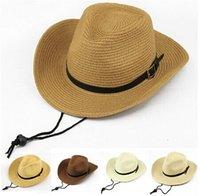 folding straw hat - High Quality Men Folding Cowboy Straw hat Summer Beach Sun Hat