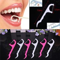 Wholesale Dental Flosser Plastic Pink White Oral Hygiene Teeth Tooth Cleaning Dental Floss Pick Peeling Stick With Retail Package