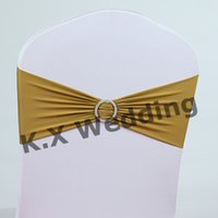 Wholesale Gold Color Lycra Chair Band Include Buckle Used On Wedding Chair Cover