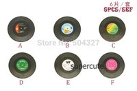 vinyl record - Pieces Sets Spinning Hat Retro Vinyl Record Drinks Coasters Vinyl Coaster Cup Mat