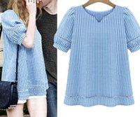 Cheap Women's Short Sleeve Blue White Striped Tee Shirts Cute Girls lassie fashion women 2015 clothes casual Tshirt Blusa de renda