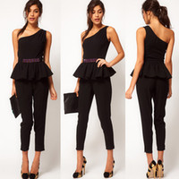 Polyester beautiful jumpsuits - Beautiful Black Jumpsuit For Women One Shoulder Sleeveless Thin Fashion Casual Regular Romper Women Clothing Ankle length Pant England Style