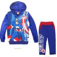 Unisex applique patterns kids - boys The Avengers Batman pattern hoodie pants suit childrenThe Avengers Batman cartoon suits spring autumn kids clothes set retail