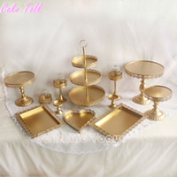 Wholesale Set of pieces gold cake stand wedding cupcake stand cake barware decorating cooking tools bakeware dinnerware