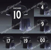 Wholesale Chelsea third tihird flash black jersey with shorts soccer uniforms kit Hazard diego costa fabregas oscar drogba terry willian