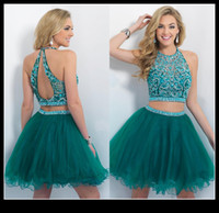Wholesale emerald green Two Piece Homecoming Dresses Jewel Beading Crystal Tulle Backless Short Gradusation Cocktail Party Gown Clubwear Cheap