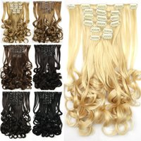 Wholesale Cheap Synthetic Clip In Hair Extensions set Heat Resistant Wave Hair Pad inch Clips