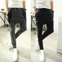 drop crotch pants - Fashion Brand Cotton Drop Crotch Pants Men Outdoors Skinny Joggers Sweatpants Hip Hop Harem Baggy Casual Trousers Men Pants