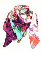 cotton square scarf - Spring fashion cotton square scarf brand large scarf shawl roses printed scarf