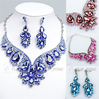 Wholesale Luxury Sparkly Rhinestone Bridal Jewelry Set Earrings Necklace Gold Royal Blue Fuchsia Red Black Crystal Bridal Prom Party Accessories Cheap