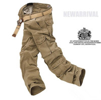 Wholesale 2015 Men s pants washing overalls high quality man outdoor casual pockets Cargo design trousers jeans colors