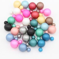 Wholesale 50 pairs Mix Color Summer Style Brincos Fashionable Colorful mm Women Simulated Double Pearl Stud Earrings