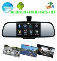 "Cheap 5"" Android 4.0 Car rearview mirror Dual Lens 1080P HD Car DVR + Rear view camera with gps navi Bluetooth FM WIFI MP4   5 + 8G Map   DVR card"
