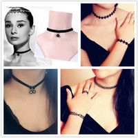 collar necklace - Hot Sale Chokers Harajuku Retro Velvet Belt Neck Strap Lace Collar Short Chain Necklace Lolita Punk Clavicle Sweater Chain Necklace WH